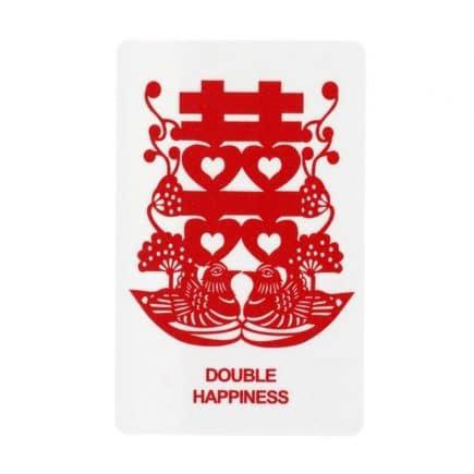 Card dubla fericire amuleta cu simbolul dublei fericiri, rate mandarine si flori de piersic-0