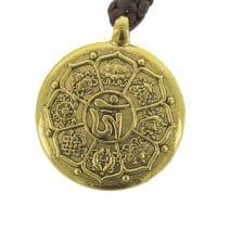 Amuleta cu cele 8 simboluri tibetane, dubla dorje, foarea de lotus si nodul mistic-6111