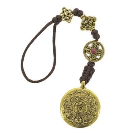 Amuleta cu cele 8 simboluri tibetane, dubla dorje, foarea de lotus si nodul mistic-0