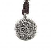 Amuleta cu cele 8 simboluri tibetane, dubla dorje si nodul mistic 01