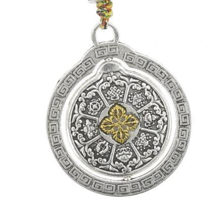 Amuleta cu cele 8 simboluri tibetane, dubla dorje si vasul prosperitatii 01
