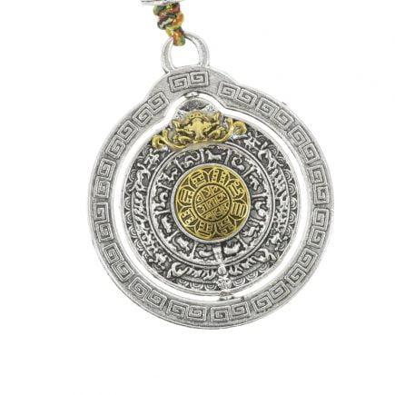 Amuleta cu cele 8 simboluri tibetane, dubla dorje si vasul prosperitatii 02