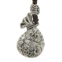 Amuleta cu sacul prosperitatii cu pesti si floarea de lotus 03