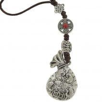 Amuleta cu sacul prosperitatii cu pesti si floarea de lotus 01