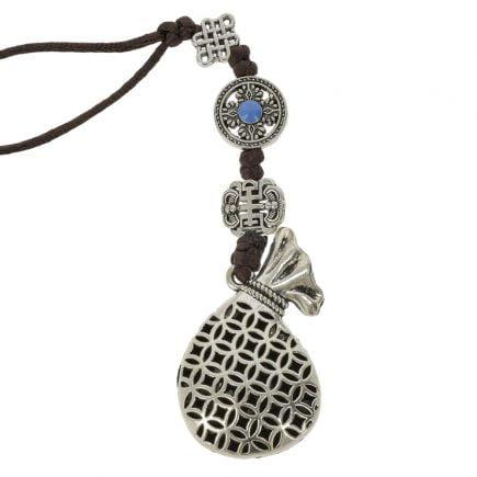 Amuleta cu sacul prosperitatii cu pesti si floarea de lotus 02