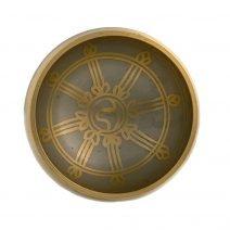 Vas tibetan - Bol auriu cu simboluri norocoase si roata Dharmei