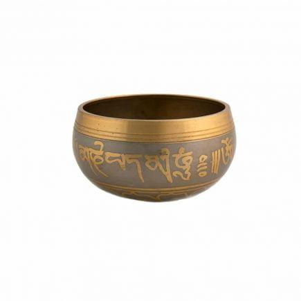 Vas tibetan - Bol auriu cu simboluri norocoase, dubla dorje si Yin si Yang - mic-0