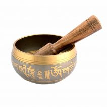 Vas tibetan - Bol auriu cu simboluri norocoase, dubla dorje si Yin si Yang - mic-6188