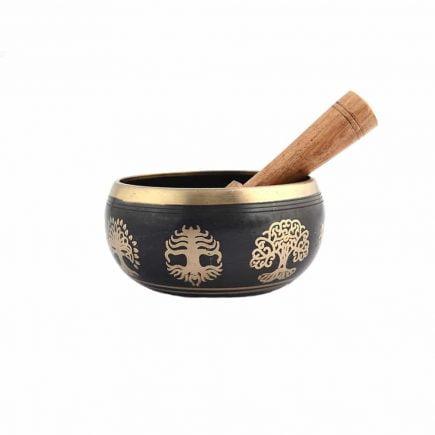 Vas tibetan - Bol negru cu pomul sau copacul vietii-0