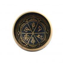 Vas tibetan - Bol negru auriu mic cu sase simboluri norocoase de protectie-6200