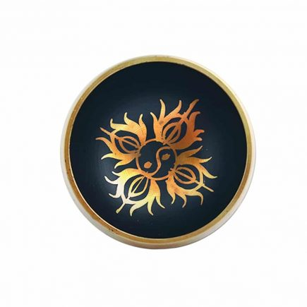 Vas tibetan - Bol negru cu simboluri norocoase, dubla dorje si Yin si Yang - mic model 3-6192