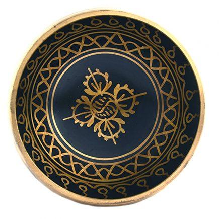 Bol negru cu simboluri norocoase, dubla dorje si Yin si Yang 02 model 1