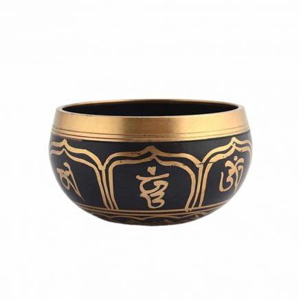 Vas tibetan - Bol negru cu simboluri norocoase, dubla dorje si Yin si Yang - mic model 3-6194