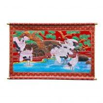Stampa Feng Shui din catifea rosie cu 9 cocori.-0