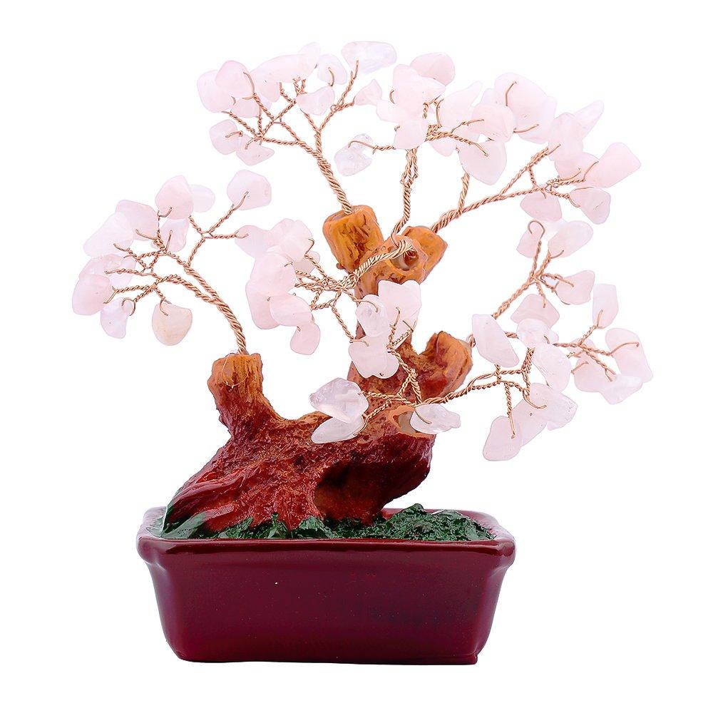 Copacel cu cuart roz pe suport dreptunghiular de ceramica