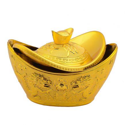 Vasul prosperitatii auriu in forma de pepita cu pereche dragoni si phoenix