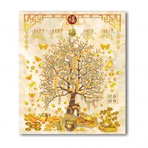 Tablou Feng Shui cu Copacul prosperitatii, pepite, monede i-Ching