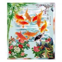 Tablou Feng Shui cu cei 9 crapi norocosi si pauni 20x30