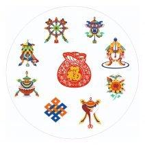 Abtibild cu cele 8 simboluri tibetane si sacul abundentei - mare