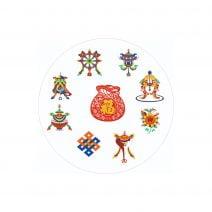 Abtibild cu cele 8 simboluri tibetane si sacul abundentei - mic