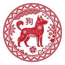 autocolant stiker feng shui cu zodia caine mare