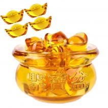 Vasul prosperitatii cu pepite aurii si mantre de abundenta