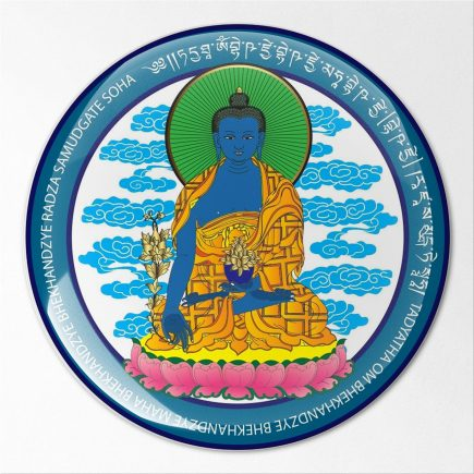 8104 Abtibild stiker 3D pt telefon, laptop cu Buddha medicinei albastra cu floare de lotus fata