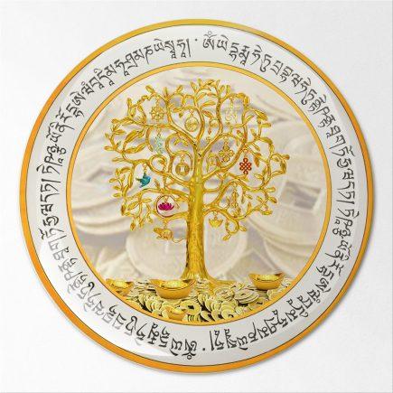 8108 Abtibild stiker 3D cu copacul prosperitatii, monede chinezesti, pepite, mantre si cele 8 simboluri fata