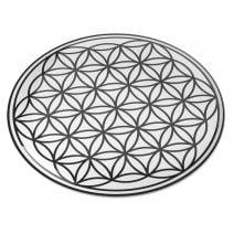 8122 Abtibild stiker 3D cu Floarea Vietii, Simbolul vietii negru transparent