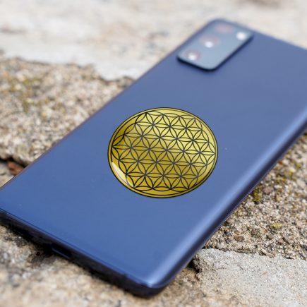 8123 Abtibild stiker 3D cu Floarea Vietii, Simbolul vietii auriu metalic telefon